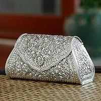 Thai Sterling Silver Patterned Clutch Handbag Kanok Elegance