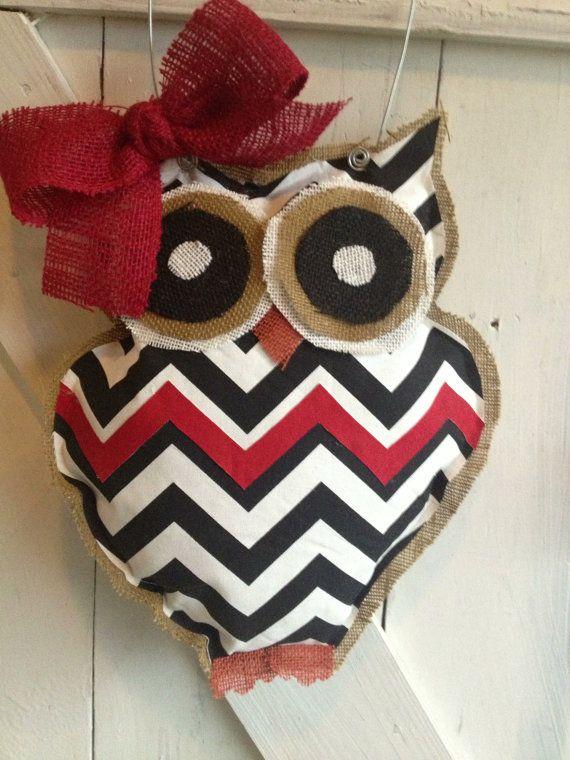 Black/White/Red Chevron Owl Door Hanger by EverTwoClever on Etsy, $25.00