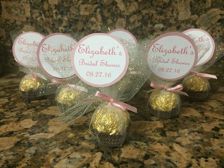 bridal shower ferrero rocher favors pink gold theme