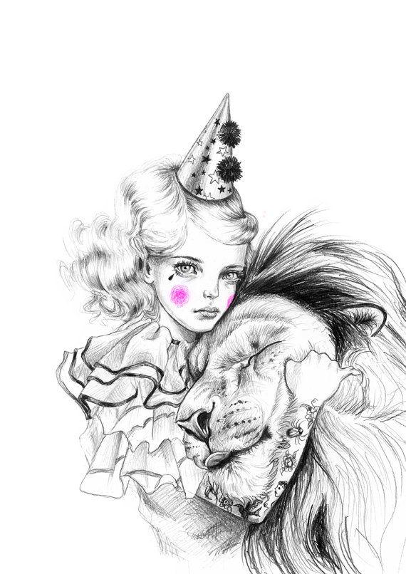 Lion Whisperer art print  limited edition by JulieFilipenko, ₪110.00