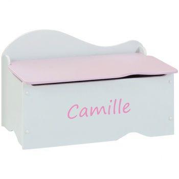 Découvrez ce Coffre à jouets enfant personnalisé - Rose / Blanc sur poupepoupi.com #coffreàjouets #rangementenfant