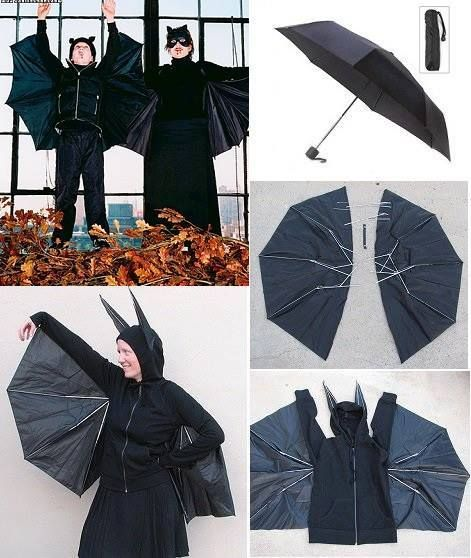 Recycle an Old Umbrella and Make a Bat Halloween Costume: