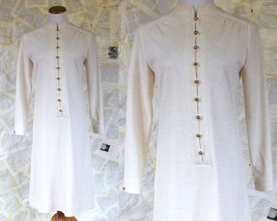 70's White Gold Button Dress Long Sleeve by TheEchoingGreen