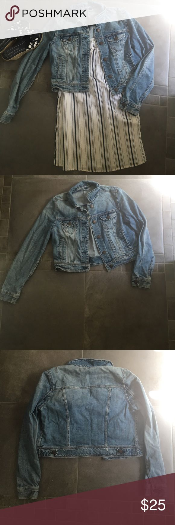 American Eagle Jean Jacket Great condition! Distressed detailing on bottom back is decorative (not from wear and tear) American Eagle Outfitters Jackets & Coats Jean Jackets
