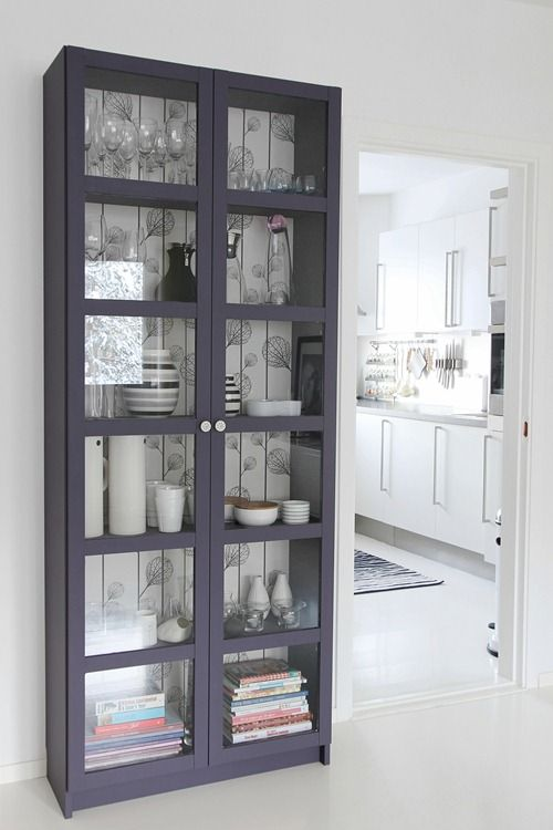 via hvitetulipaner.bl... Painted IKEA cabinet....love the color