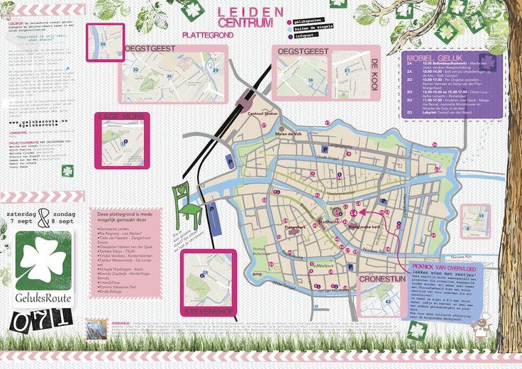 De plattegrond van de Geluksroute, een geweldig initiatief dat ontstaan is in Leiden en nu door heel Nederland uitzwermt.