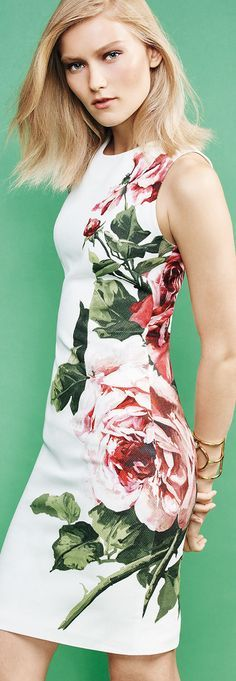 white floral dress @roressclothes closet ideas women fashion outfit clothing style Carolina Herrera