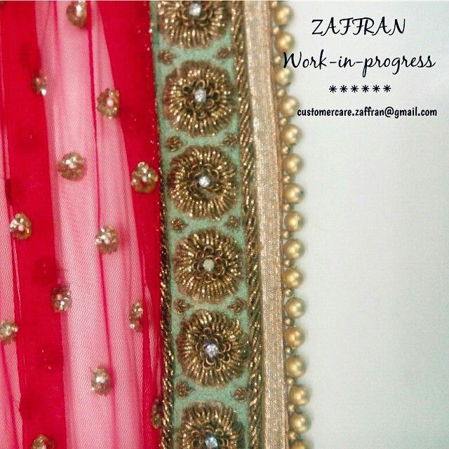 zaffran collections - close up of my bridal dupatta that i want to get offwhite…