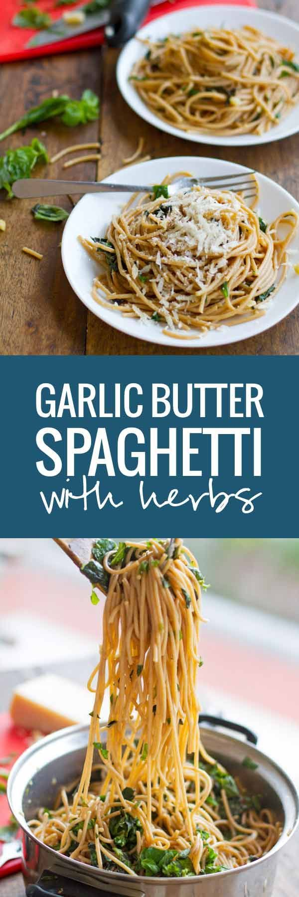 Garlic Butter Spaghetti with Herbs - Spaghetti with a creamy and fresh taste | pinchofyum.com