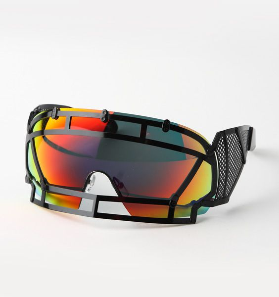 KOKON TOZAI GLASSES | Jeremy Scott For Linda Farrow futuristic handmade cage sunglasses with rainbow lenses