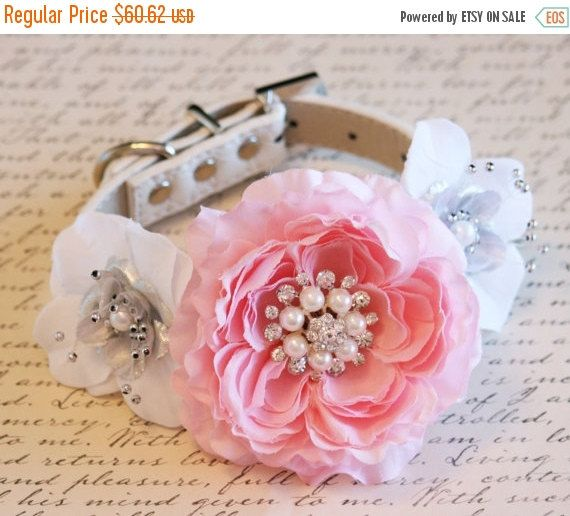 ❘❘❙❙❚❚ 25% Sale - limited time ❚❚❙❙❘❘     Pink, white and silver Floral Dog Collar, Pink Pet Wedding Accessory, Floral Collar, Pink and silver Wedding