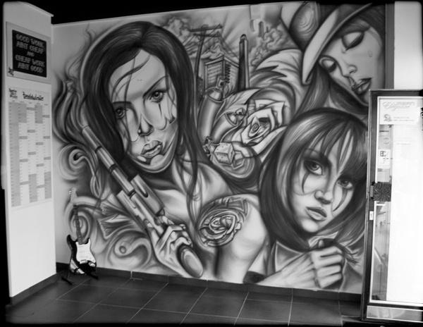 Mural by Roman Hottmann titel Showroom Airbrush year 2011 place Showroom Tattoo n. Wall ArtWall ... & 81 best airbrushing images on Pinterest | Skull art Skull and Skulls