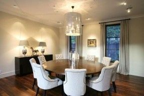 A touch of Luxe: Dining rooms - chandelier + upholstered chairs+ stucco ceiling = pure elegance