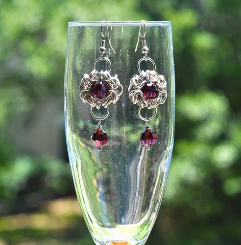 Byzantine chainmail earrings with burgundy Swarovski accents