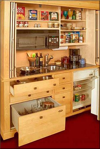 Small Space Design: The Armoire Kitchen - this would be awesome for inside of a camper, in a casita or pool cabana!!!