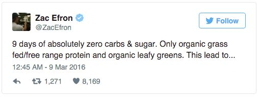 Zac Efron Tweets about his diet.