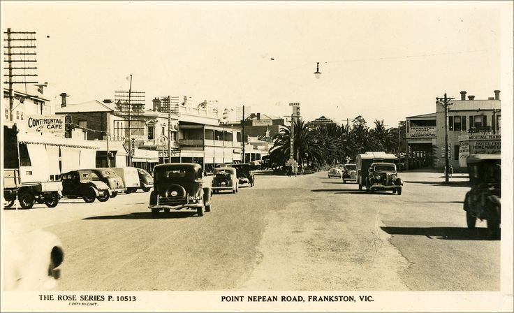 Vintage postcard view of Point Nepean Road (Nepean Highway) Frankston.