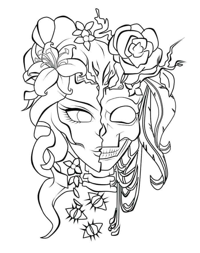 Carissa Rose Coloring Pages In 2020 Skull Coloring Pages Rose Coloring Pages Coloring Pages