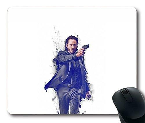 Custom Gaming Mouse Pad with John Wick Movie Poster Art Actor Non-Slip Neoprene Rubber Standard Size 9 Inch(220mm) X 7 Inch(180mm) X 1/8 Inch(3mm) Desktop Mousepad Laptop Mousepads Comfortable Computer Mouse Mat