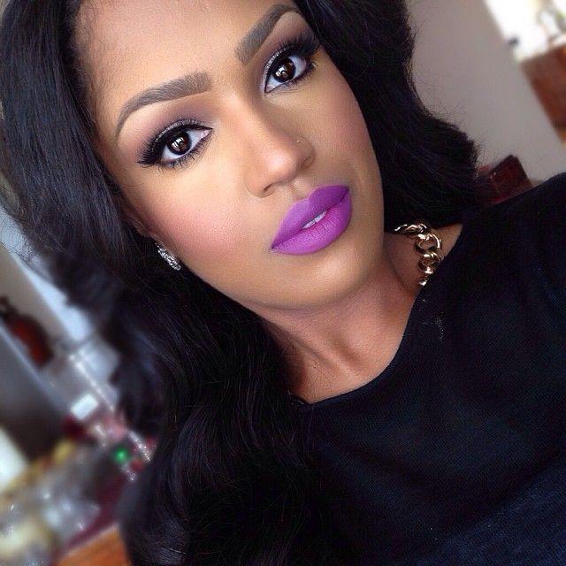 "Makeup look using MAC's ""Heroine"" lipstick. (Makeupshayla)"