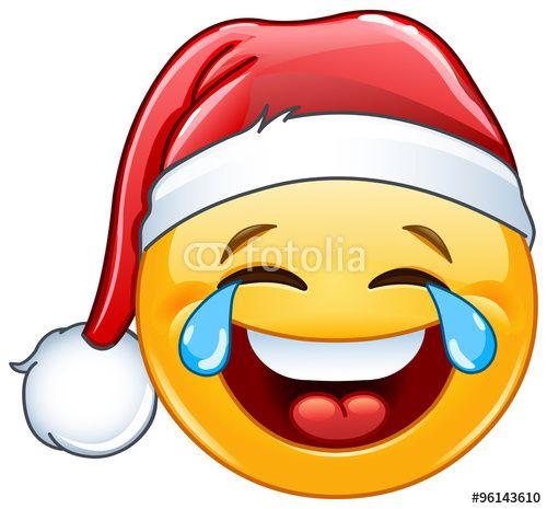 """Descargue el vector libre de derechos """"Tears of joy emoticon with Santa hat"""" creado por Yael Weiss al precio más bajo en Fotolia.com. Explore nuestro económico banco de imágenes para encontrar el vector perfecto para sus proyectos de marketing."""