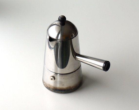 Tasses Vintage inox Moka Carmencita Lavazza expresso, cafetière italienne 18 10 3 Carmencita, Marco Zanuso conception 1979