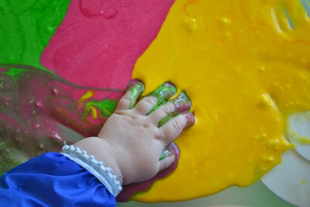 Edible finger paint. Another great blog with activities for 1 year old like treasure chest etc