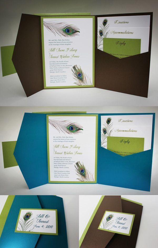 pinterest peacock wedding | peacock wedding invitation with pocket fold