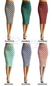 WOMEN-CHEVRON-PRINT-SEXY-STRAIGHT-PENCIL-SKIRT-MADE-IN-USA-MORE-COLORS