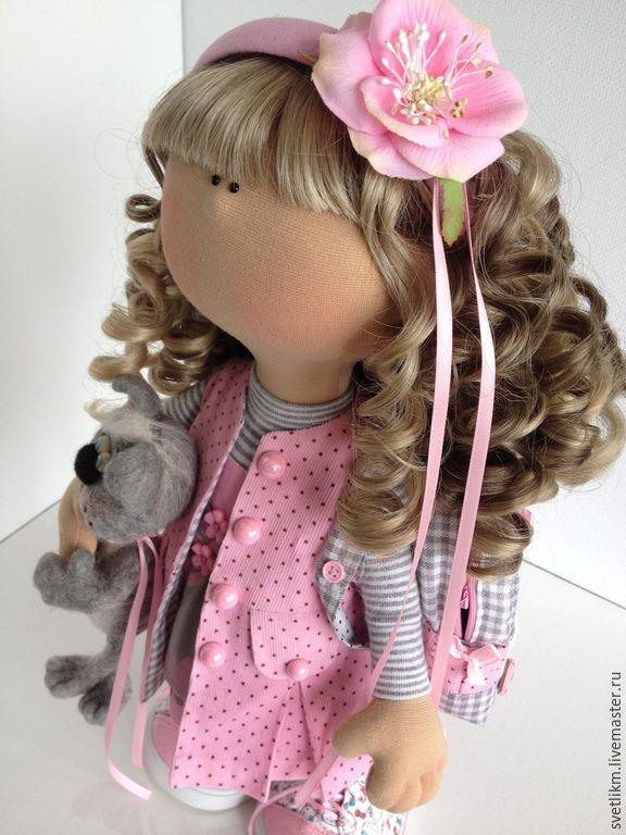 Купить Кисонька - розовый, кукла ручной работы, кукла в подарок, кукла интерьерная, кукла текстильная