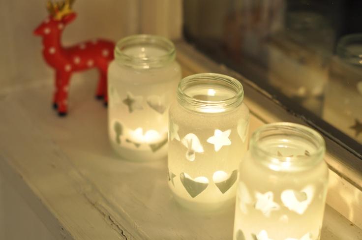 Babyfood glasses candle holders