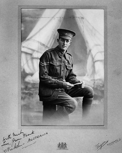 Frank Nicklin, WWI, Corporal in Australian Imperial Forces. At Dernancourt, France, he took charge when his platoon commander was killed, and was awarded the Military Medal. He was later promoted lieutenant. After the war Nicklin started a pineapple farm in Queensland, and took a leading part in the organisation of the Queensland fruit industry. He became involved in politics, climbing the ranks & becoming the 'Premier' of Queensland in 1957. How great to have all this info abt a soldier!