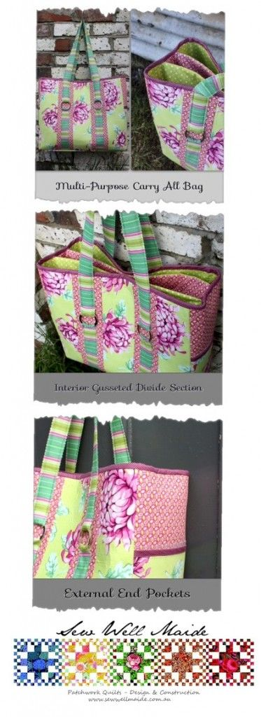 Gorgeous Multi-Purpose Carry-all Bag Pattern by Sew Well Maide | PatternPile.com not a free pattern but good for figuring out yourself.