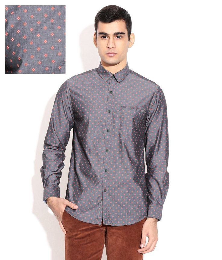 Wills Lifestyle Gray Casuals Shirt