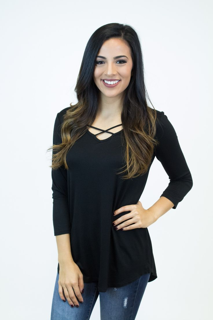 Black Front Criss Cross Top