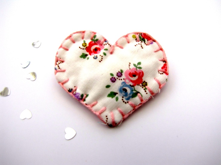 Cath Kidston Soft Fabric Heart Brooch Pin. $6.20, via Etsy.