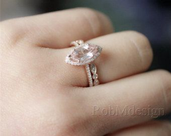 Diana Style 2pcs Enagement Ring Set Pink 68mm by RobMdesign