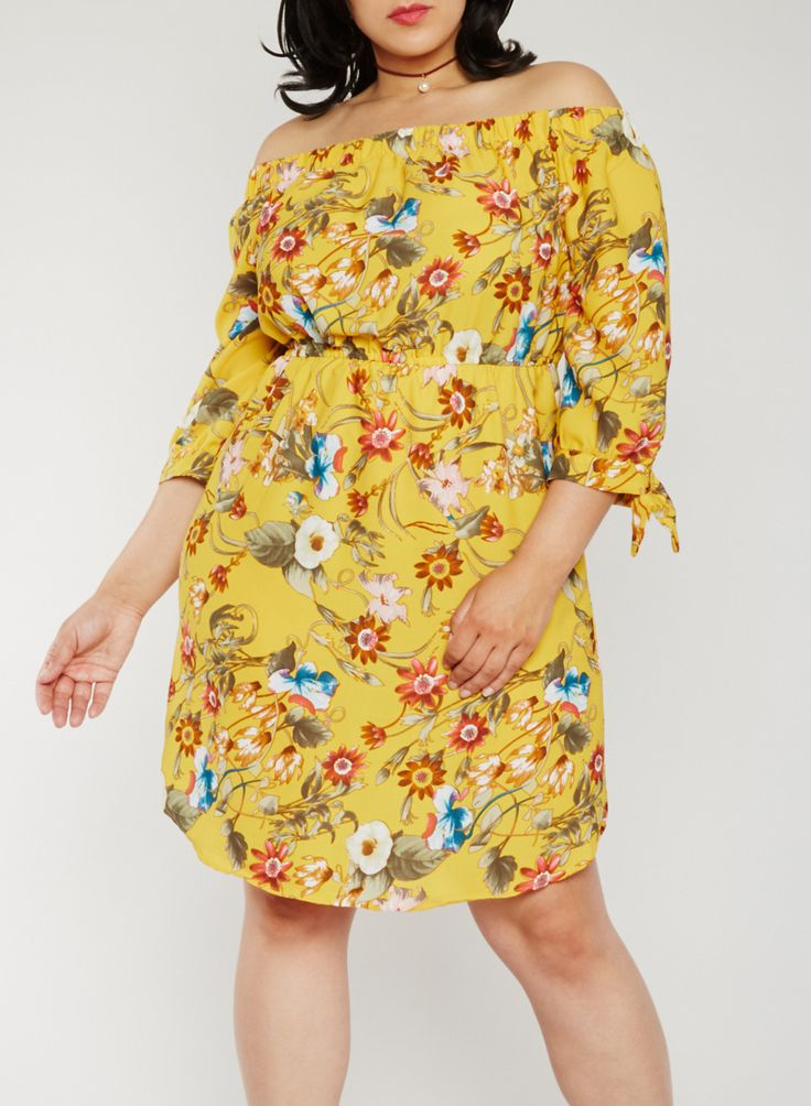 Plus Size Off the Shoulder Floral Peasant Dress,GOLD,large