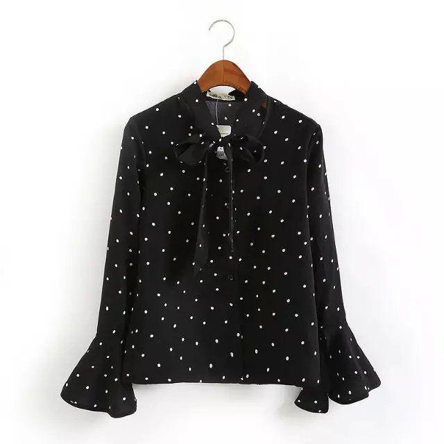 Женская черная блузка в горошек Купить: http://ali.pub/hi6fa