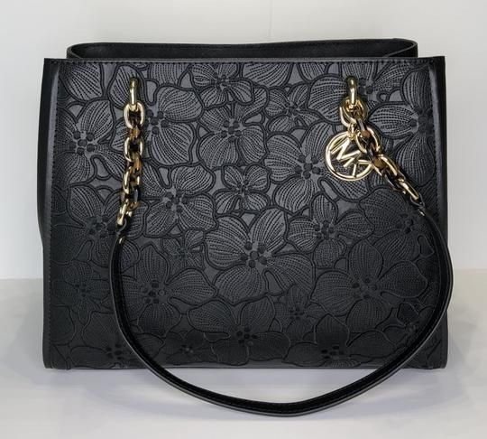 20039568c903 Save big on the Michael Kors Sofia Large Tote Floral Black Leather Satchel!  This satchel is a top 10 member favorite on Tradesy.