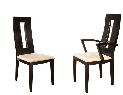 The Novo Chair has an angled seat back. The rectangular cut-out on the back is accented with metal. The comfortable seat has an elegant beige fabric.