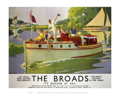 Broads People Waving from Boat