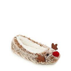 Lounge & Sleep - Brown reindeer slippers