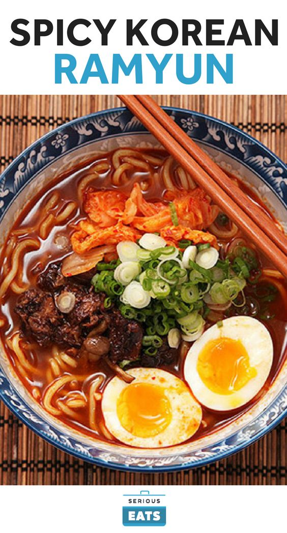 """Traditional"" Korean ramyun is an easy, Korean-flavored version of Japanese instant ramen. Our reverse-engineered version uses a homemade broth made with dashi, short ribs or oxtail, aromatics, gochujang, and kimchi. The Chinese chili and bean paste doubanjiang rounds out the flavors."