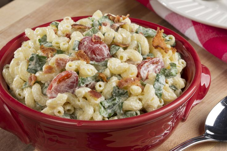 """BLT Macaroni Salad   MrFood.com  Once I refrigerated this, it became dry. Next time I will make double the """"sauce"""" and adjust accordingly. Super delicious"""