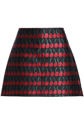 ceb75d228b RED VALENTINO WOMAN FLARED JACQUARD MINI SKIRT BLACK. #redvalentino #cloth #