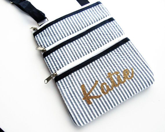 Your name in permanent gold glitter!  cross body bag  Cross body Purse   Personalized by VincentVdesigns
