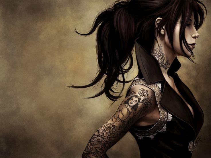 プロフィール画像, 女の子の壁紙, 肩ベクトル, 入れ墨の背景