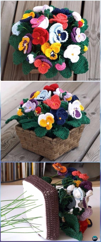 Crochet Crochet Pansy Flower Bouquet Free Pattern - Crochet 3D Flower Bouquet Free Patterns