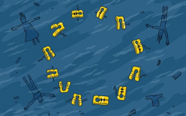 A circle of yellow lifejackets marks the European flag in the ocean, in a reference to the ongoing refugee and migrant crisis in the Mediterranean.